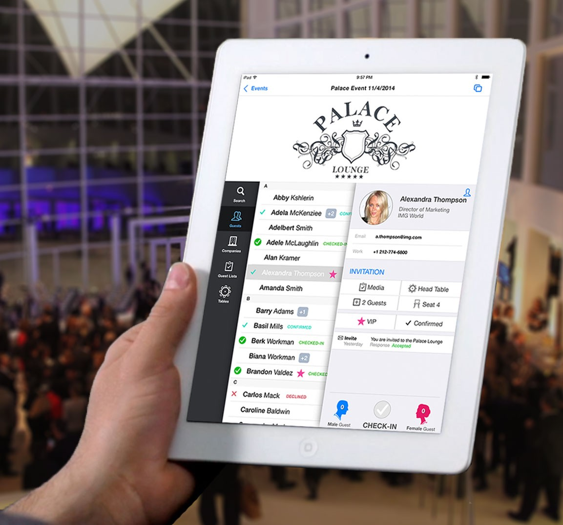 Image of an iPad with the diobox event planning platform.